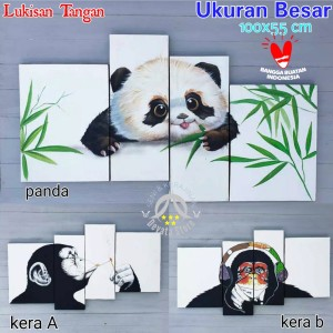 Harga hiasan dinding lukisan tangan hewan panda kera monyet lucu wall decor   kirim | HARGALOKA.COM