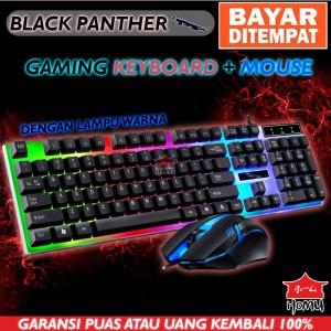 Harga homu x black panther gaming keyboard amp gaming mouse usb led   HARGALOKA.COM