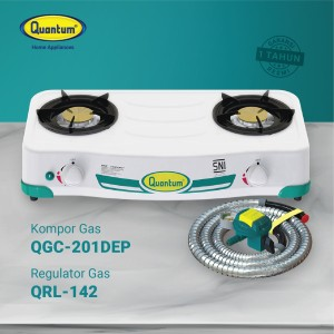 Harga paket quantum kompor gas 2 tungku qgc 201 dep dan selang regulator | HARGALOKA.COM