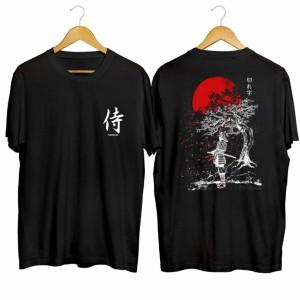 Harga kaos jepang samurai sakura   baju kaos distro pria cowok keren   hitam m to | HARGALOKA.COM