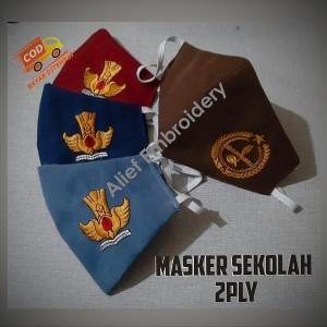 Harga masker kain sekolah logo tutwuri sd smp sma pramuka 2ply bisa dicuci   | HARGALOKA.COM