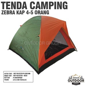 Harga tenda camping zebra kap 4 5 orang dome mesh layer outdoor hiking tent   hijau | HARGALOKA.COM