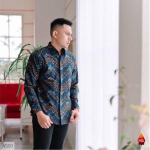 Harga kemeja batik jakarta batikku bahan katun baturaden reguler fit biru   | HARGALOKA.COM