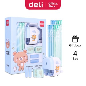 Harga deli stationery set 4 in 1 68896   biru | HARGALOKA.COM