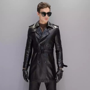 Harga jaket jubah panjang kulit asli domba super original terbaru   hitam | HARGALOKA.COM