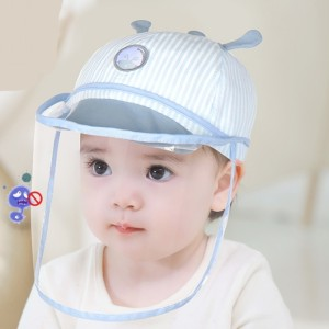 Harga topi bayi anti corona topi bayi untuk imunisasi anti droplet   blue stripes 48   7 15 | HARGALOKA.COM