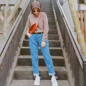 Harga celana wanita celana boyfriend jeans wanita boyfriend oki fashion   biru medium | HARGALOKA.COM