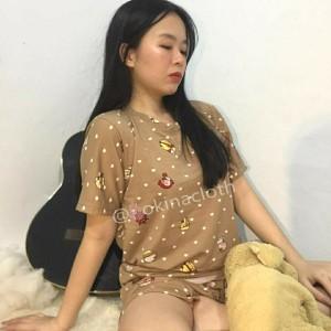Harga baju tidur satu set wanita celana pendek bahan kaos   HARGALOKA.COM
