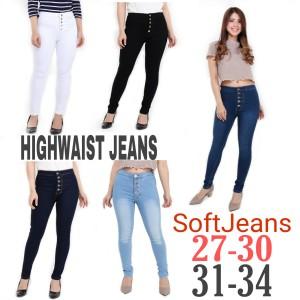 Harga celana jeans wanita highwaist skinny kancing 5 jsk   putih   HARGALOKA.COM