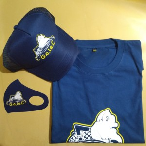 Harga paket hemat kaos distro topi trucker dan masker scuba custom   navy | HARGALOKA.COM