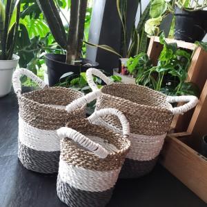 Harga keranjang pandan kuping kombinasi putih abu abu pot bunga | HARGALOKA.COM