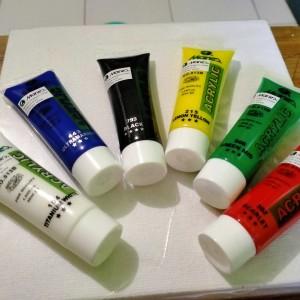Harga paket canvas lukis ukuran 20x20 amp cat acrylic meries | HARGALOKA.COM