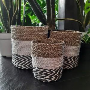 Harga keranjang pandan kombinasi hitam putih seagrass pot | HARGALOKA.COM