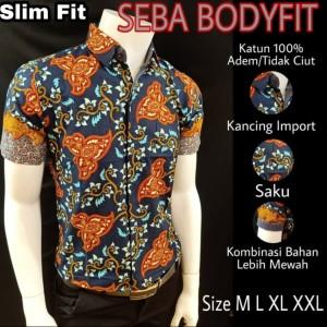 Harga batik slimfit premium seba s188178   biru | HARGALOKA.COM