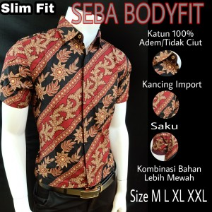 Harga batik slimfit premium seba s188211   merah | HARGALOKA.COM