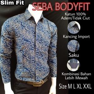 Harga batik slimfit premium seba l188213   biru | HARGALOKA.COM