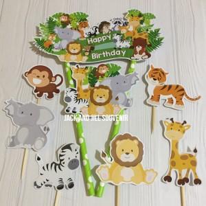 Harga cake topper animal jungle banner topper cake tusukan kue | HARGALOKA.COM