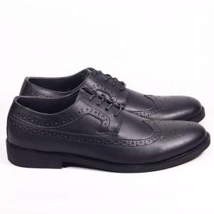 Harga sepatu kulit pantofel pria harmel   hitam | HARGALOKA.COM