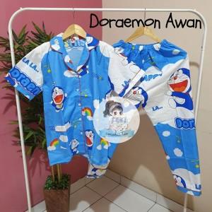 Harga piyama celana panjang cp baju tidur katun wanita doraemon | HARGALOKA.COM