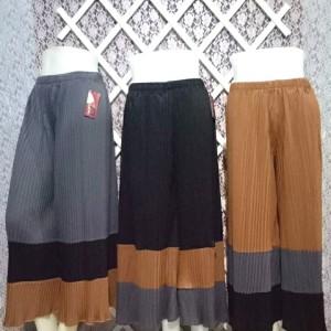 Harga celana kulot prisket panjang kombinasi 3 warna dewasa all size | HARGALOKA.COM