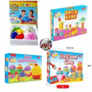 Harga mainan pasir kinetik pasir ajaib cetakan es krim fun brick animal   HARGALOKA.COM