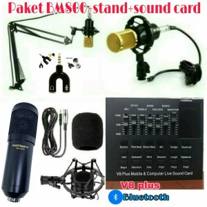 Harga paket mic taffware bm 800 stand mic sound card bluetooth v8 plus   | HARGALOKA.COM