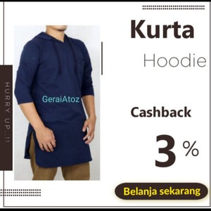 Harga kaos kurta premium baju koko pria   kq hoodie   navy | HARGALOKA.COM