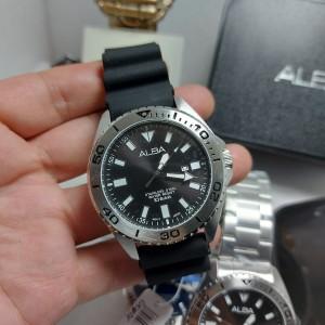 Harga jam tangan pria alba ah9021x1 rubber dan stenless original   hitam | HARGALOKA.COM