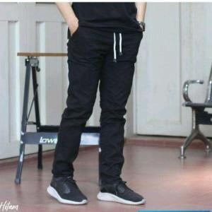 Harga celana panjang chino pinggang karet non stret   hitam   HARGALOKA.COM