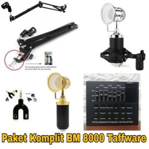Harga paket mic taffware bm 8000 stand mic sound card v8 plus   | HARGALOKA.COM