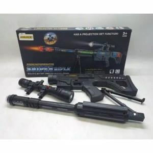 Harga mainan tembakan sniper rifle pistol suara baterai panjang war | HARGALOKA.COM