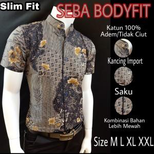 Harga batik slimfit premium seba s188332   abu abu | HARGALOKA.COM
