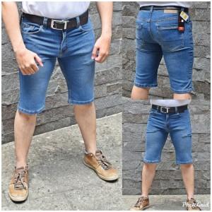 Harga celana pendek pria bahan jeans stretch karet warna | HARGALOKA.COM