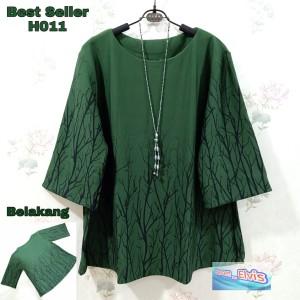 Harga atasan blouse wanita cewek motif daun hijau army   HARGALOKA.COM