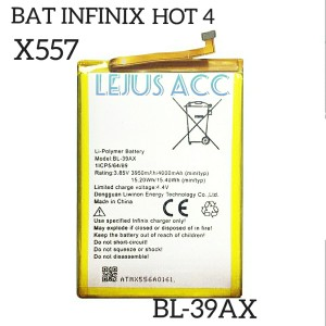 Harga baterai batre battery infinix hot 4 x557 bl 39ax | HARGALOKA.COM