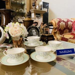 Harga tea cup set narumi flower green mewah cantik indah | HARGALOKA.COM