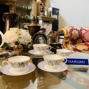 Harga tea cup set narumi flower purple mewah cantik indah | HARGALOKA.COM