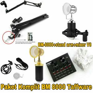 Harga paket mic bm 8000 taffware stand mic sound card v8   | HARGALOKA.COM