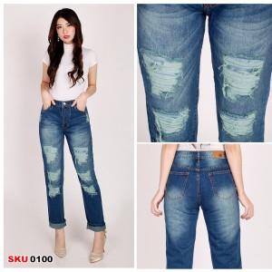 Harga celana panjang jeans boyfriend ga tembus ripped jeans wanita   hijau | HARGALOKA.COM