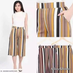 Harga celana kulot motif salur pendek 7 8 all | HARGALOKA.COM
