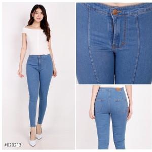 Harga celana panjang highwaist skinny jeans wanita polos   snow biru   HARGALOKA.COM