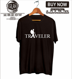 Harga kaos baju traveler siluet font pendaki gunung hiking adventure | HARGALOKA.COM