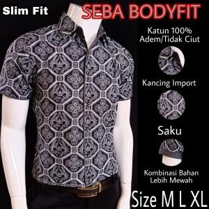 Harga batik slimfit premium seba s188114   abu abu | HARGALOKA.COM