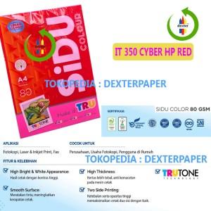 Harga kertas warna a4 kertas spectra sidu 80gr warna it 350 cyber hp red   20 | HARGALOKA.COM