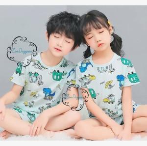 Harga setelan baju anak impor adem katun karakter seri 2   dinogreen size   HARGALOKA.COM