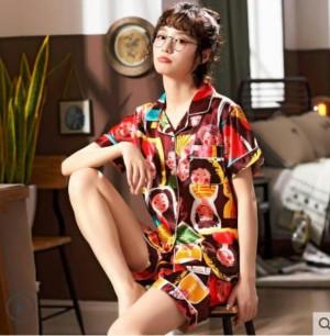 Harga baju tidur pajamas piyama satin wanita motif orang import   cokelat   HARGALOKA.COM