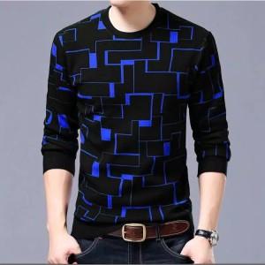 Harga baju kaos pria atasan lengan panjang cowok model babyterry virenza   hitam biru | HARGALOKA.COM