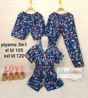 Harga 3in1 piyama motif stitch   baju tidur wanita   set piyama wanita     HARGALOKA.COM