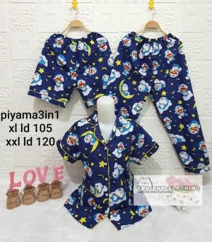 Harga 3in1 piyama motif doraemon   baju tidur wanita   set piyama wanita   kuning | HARGALOKA.COM