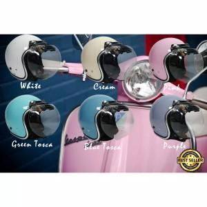 Harga helm bogo retro warna pastel list chrome kaca cembung bening new   | HARGALOKA.COM